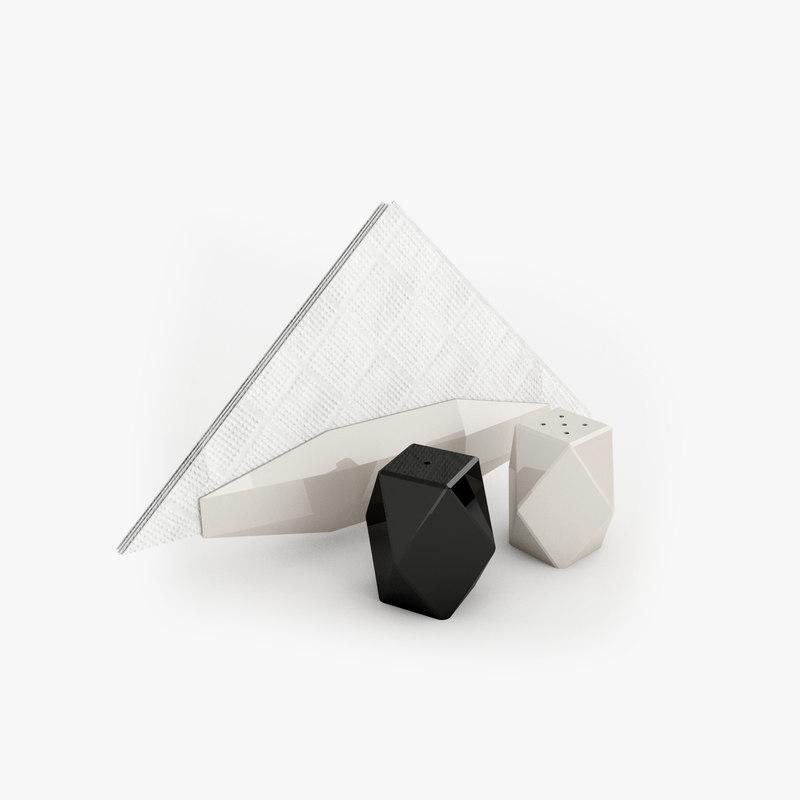 3D model salt shaker napkins
