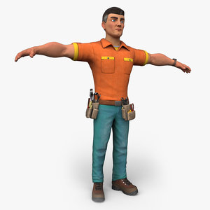 cartoony worker character 3D model