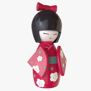 japanese doll color 3D model