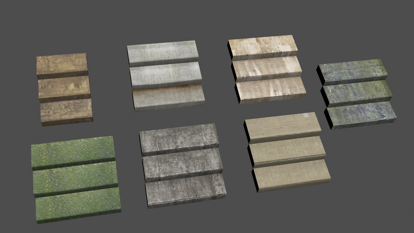 3D concrate stair set model