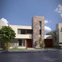 modern house exterior scene 3D