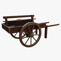 3D vintage wooden cart