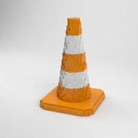 voxel traffic cone 3D