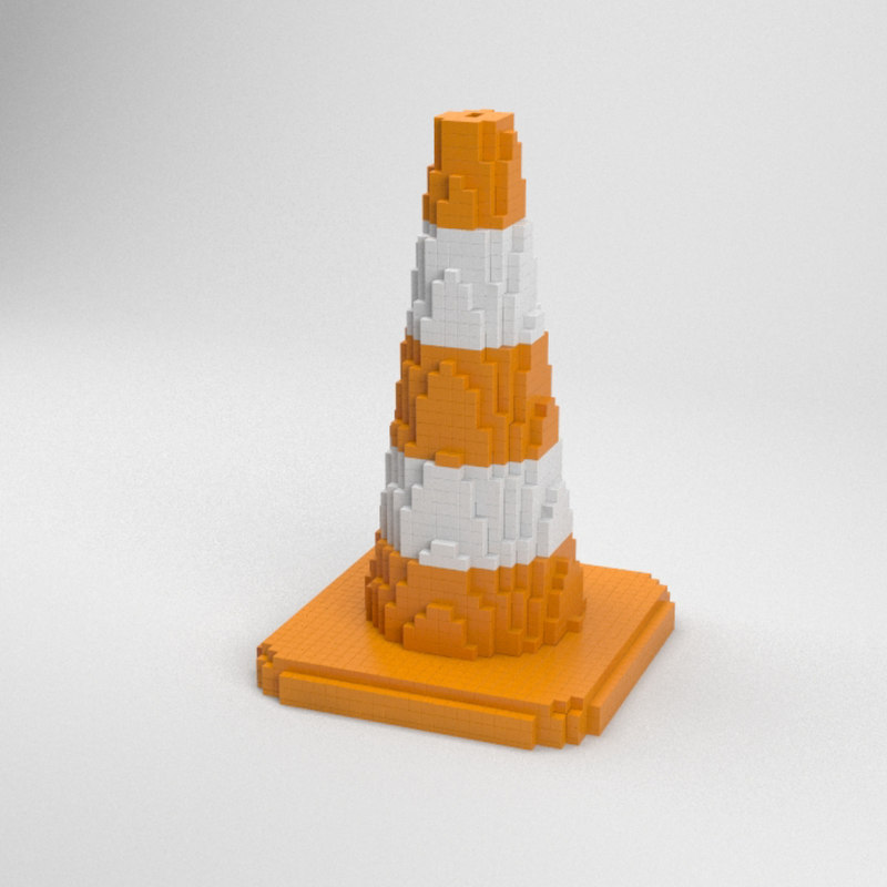voxel traffic cone 3D