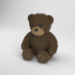 voxel teddy bear 3D model