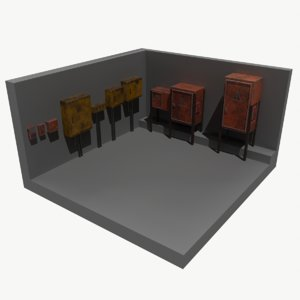 painted rusty electrical panels model