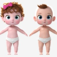 girl cartoon baby 3D