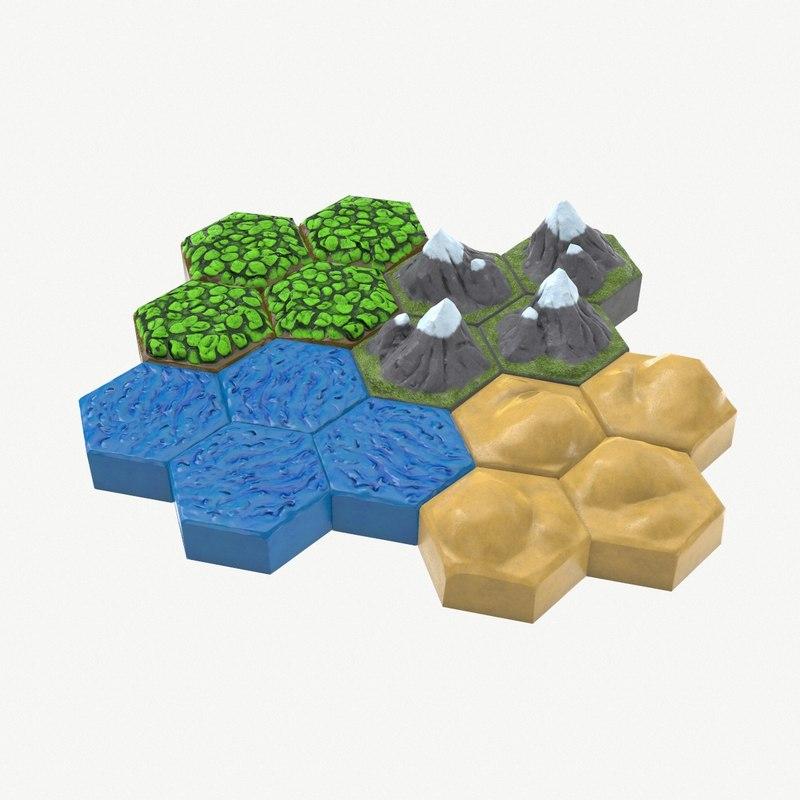 board hex tiles 3D model