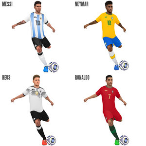 pack rigged soccer players 3D