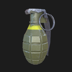 real-time hand bomb frag 3D model