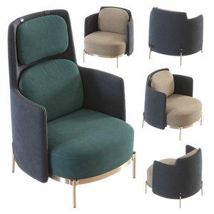 3D armchair chair minotti