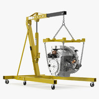 Steel Engine Hoist with V6 3D Model