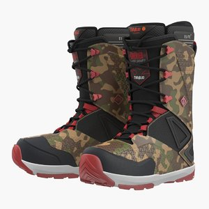 3D snowboarding boots camo forest