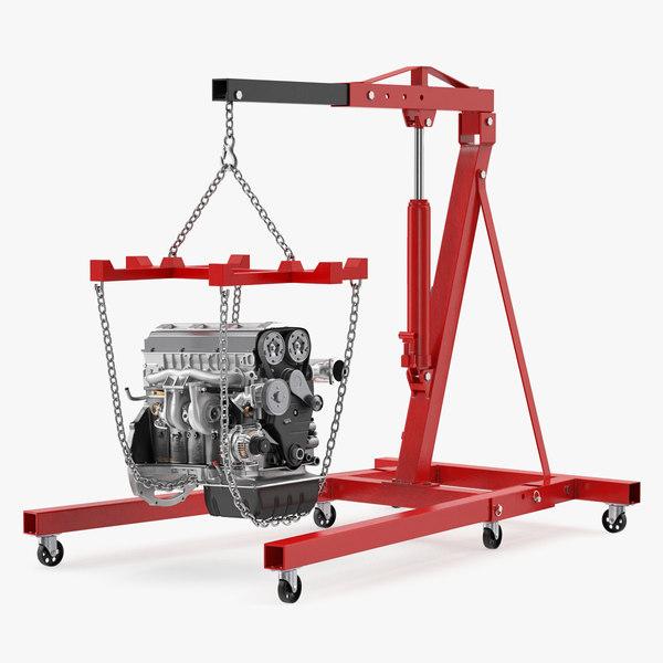 shop crane engine 3D model