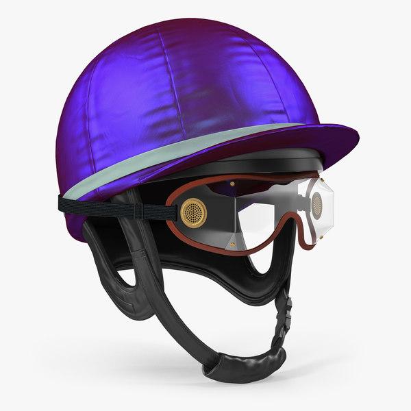 jockeys racing helmet goggles 3D model