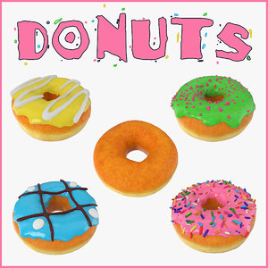 donuts set sprinkled 3D model