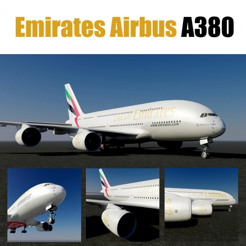 emirates airbus a380 3D