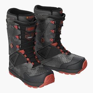 camo black boots 3D model