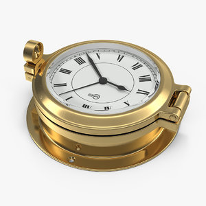 3D brass ship clock