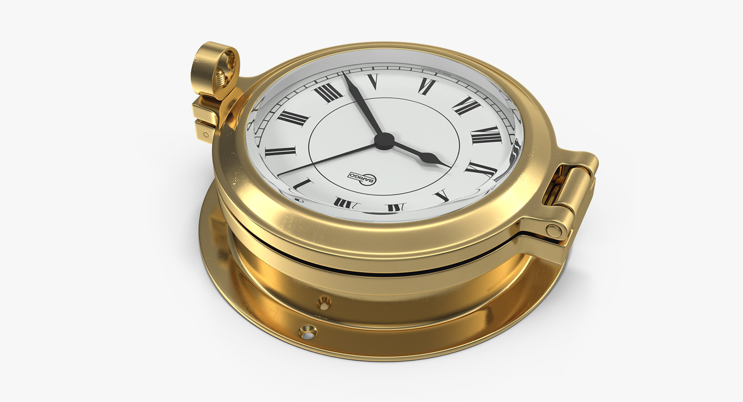 3D brass ship clock
