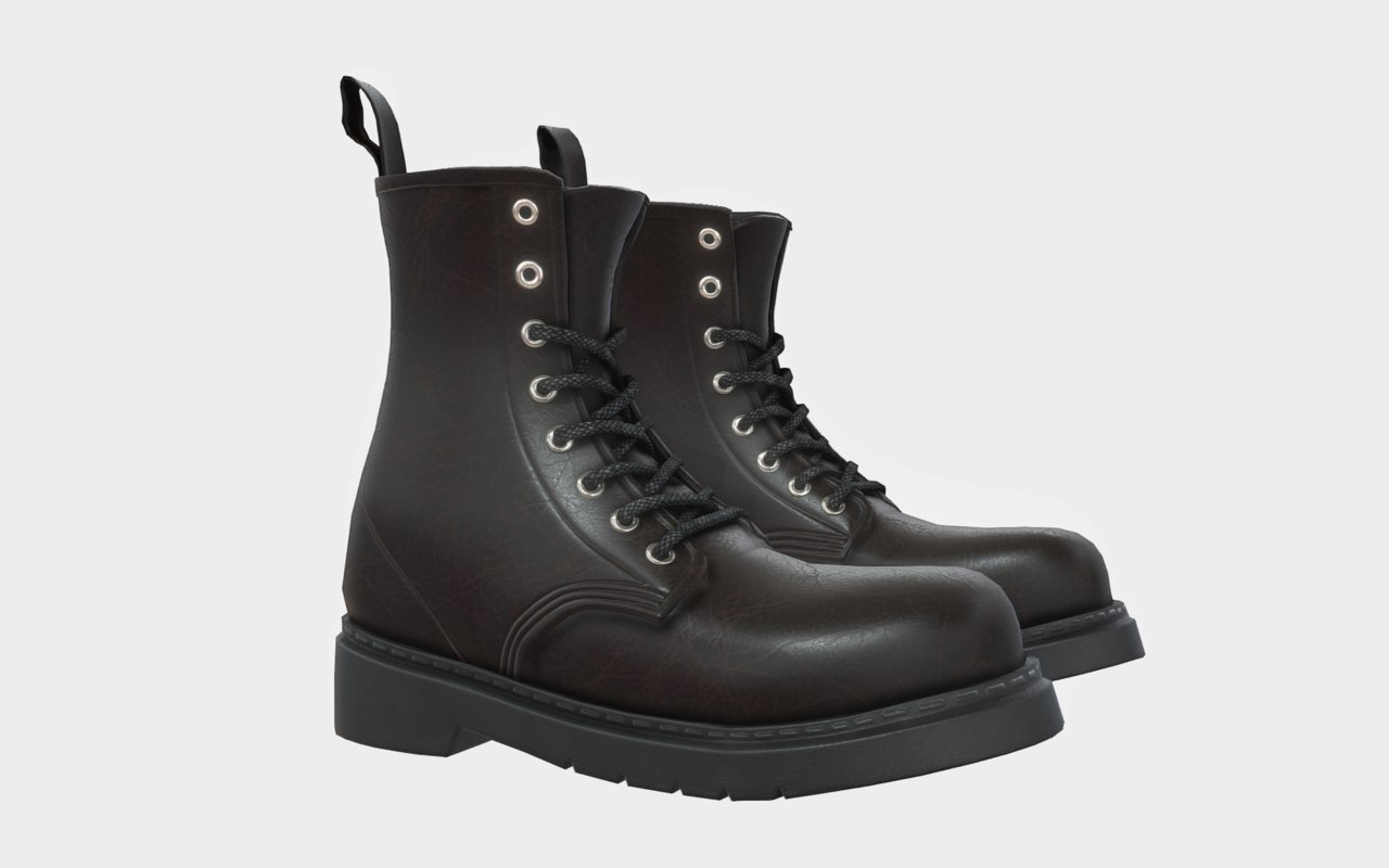 black leather boots model