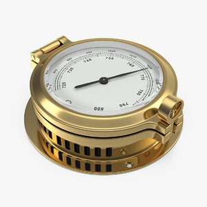 3D brass ship barometer model