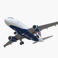 3D airbus a319 delta air lines
