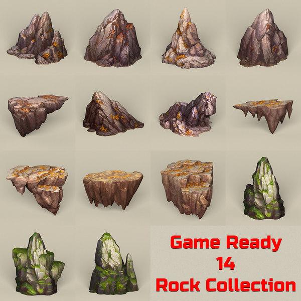3D ready stone rocks model