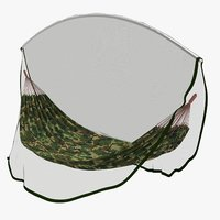 Military Hammock (v3) with Mosquito Net 3d Model