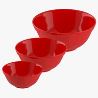 3D red bowls