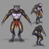 rigged wolf 3D