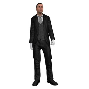 rigged butler 3D model