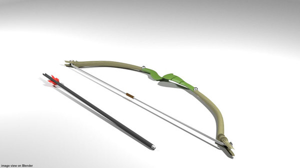 3D model arrow bow curve