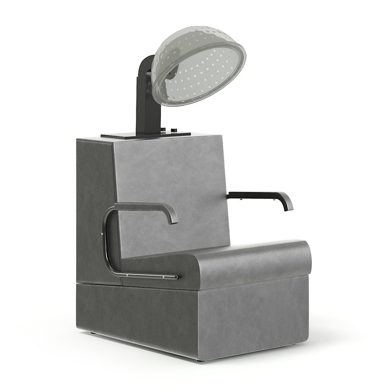 black leather hairdryer chair 3D model
