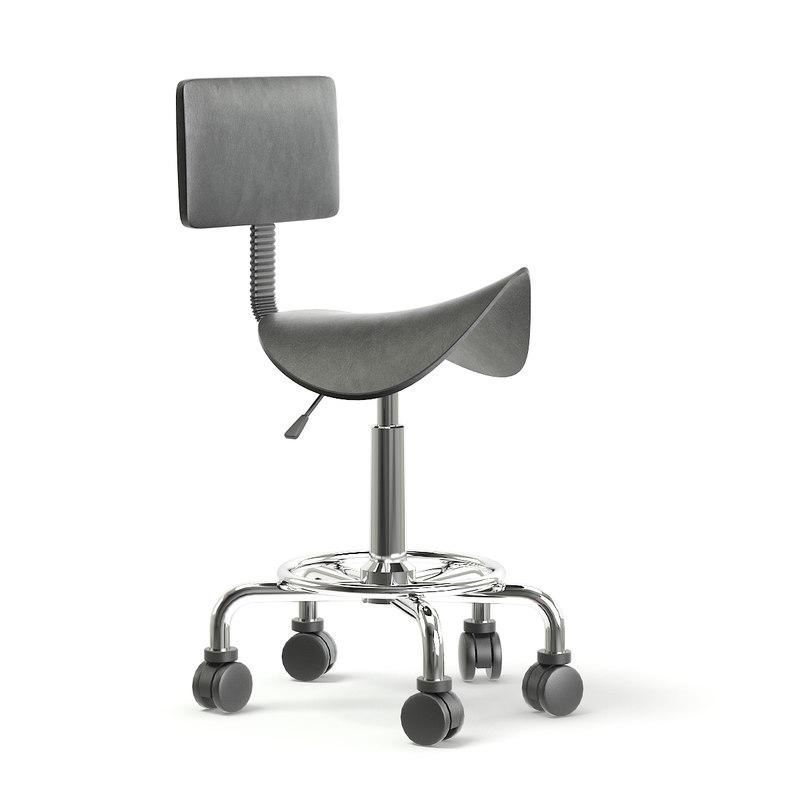 black salon stool 3D model