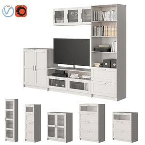 3D set furniture ikea brimnes model