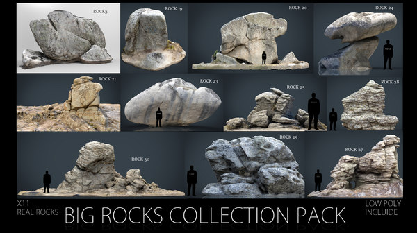 3D big rocks pack model