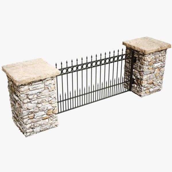 3D model lightwave fence stone column