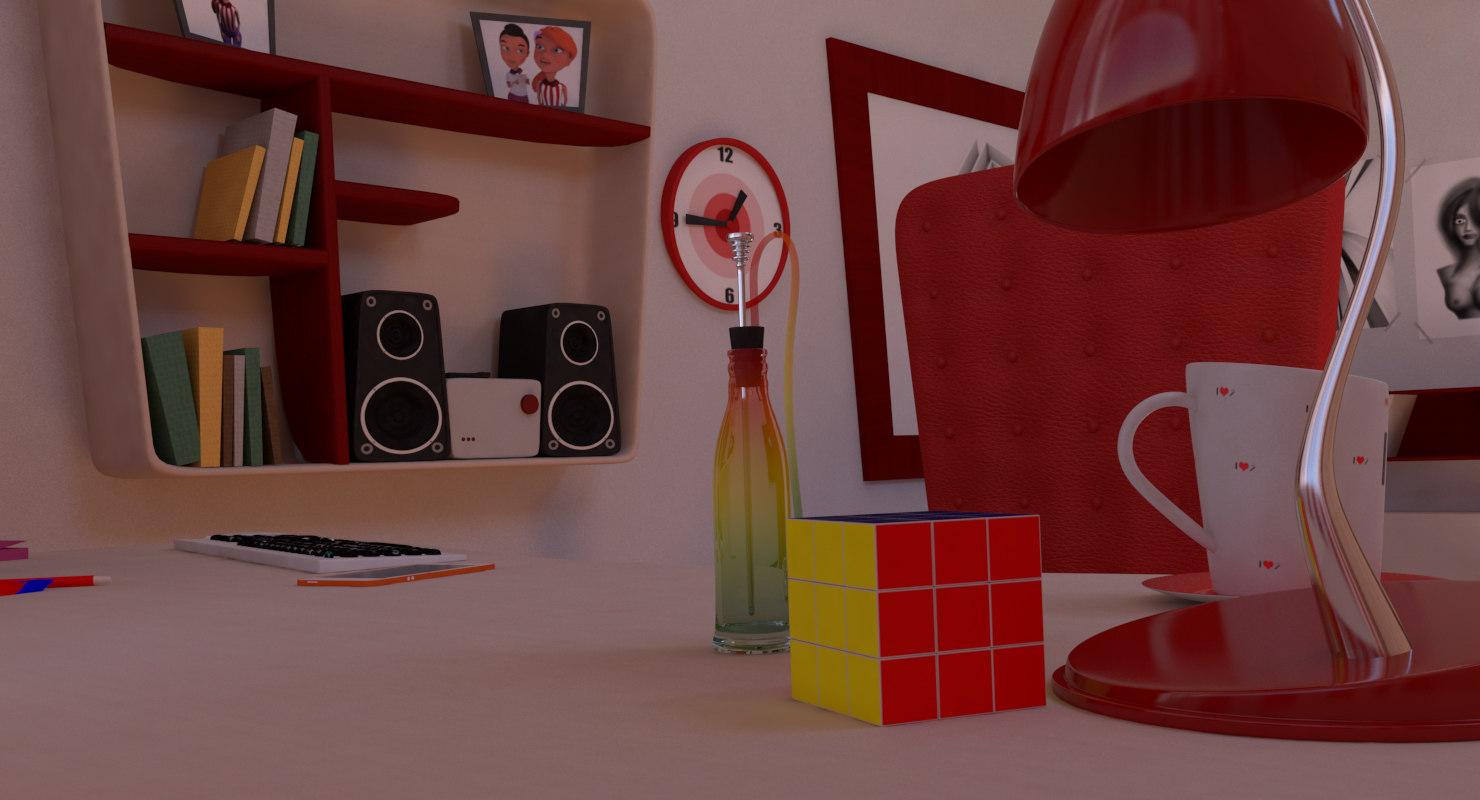 teenager bedroom 3D
