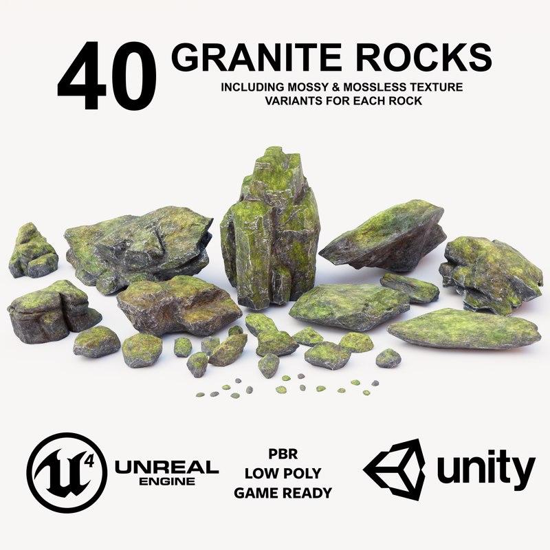 3D granite rock pack low-poly