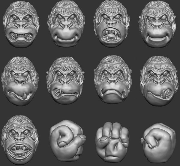 3D heads orangutan model