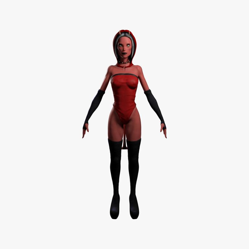 3D evil woman character model