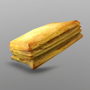 puff pastry 3D model