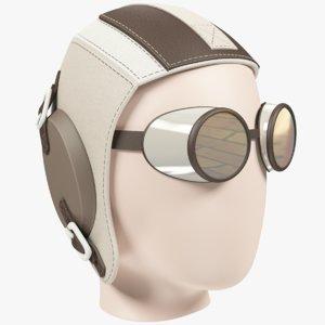 ancient pilot helmet goggles 3D model