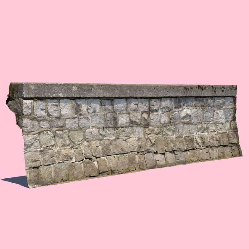 3D seawall wall sea model