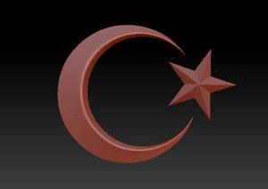 3D model star crescent