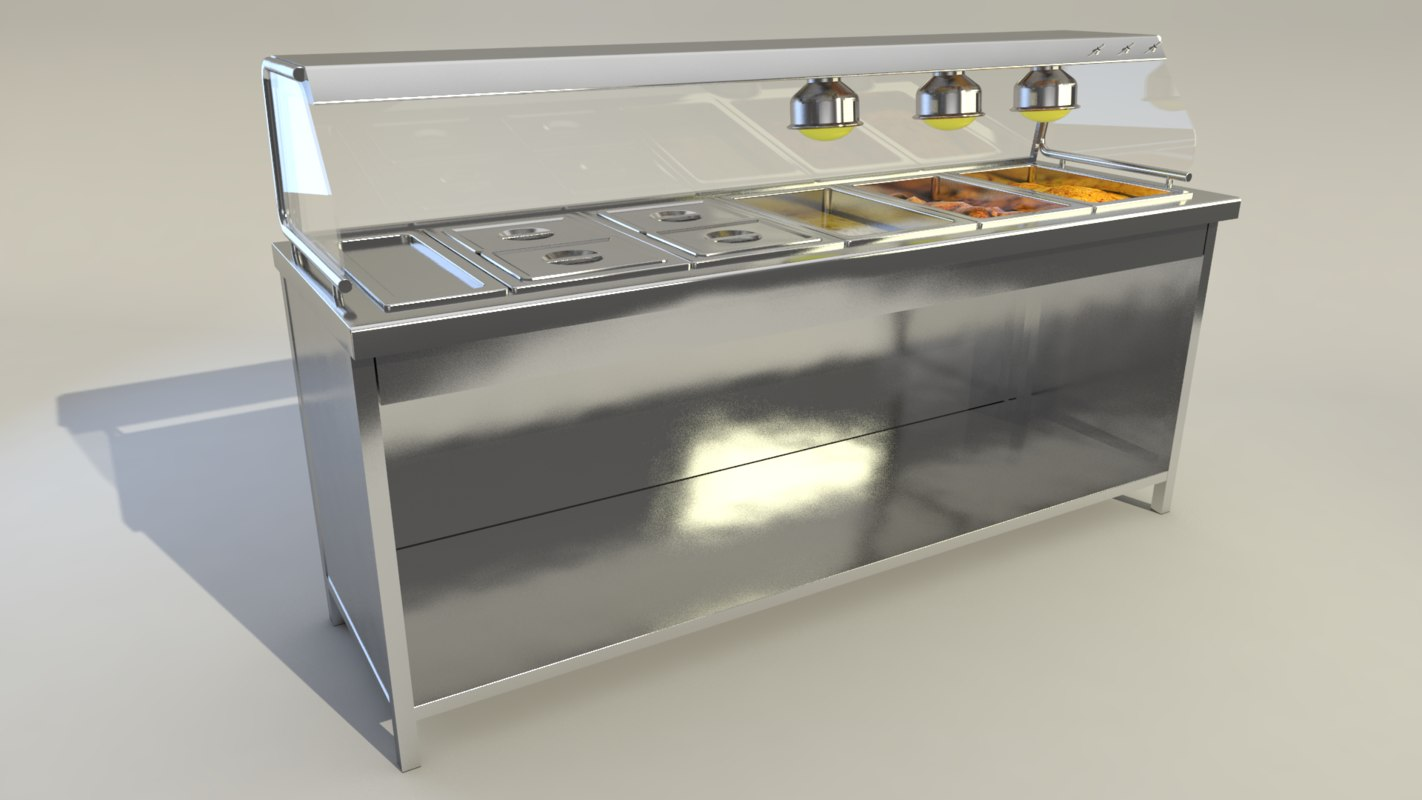 3D model stainless steel hot table