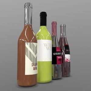 wine bottles 3D