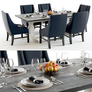 3D model set trestle vintage table chairs