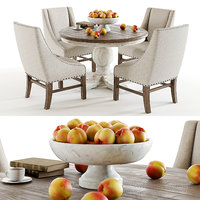 set trestle vintage table chairs 3D